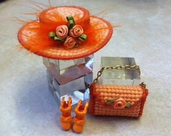 Barbie or 11.5 Doll Hat, Purse, and Shoes Ensemble OOAK