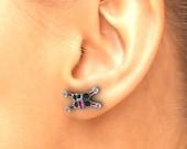 Star Wars X Wing Earrings , Black Onyx and Created Ruby  Custom Made Jewelry, X Wing Star Wars Earrings