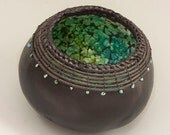 Black Gourd Bowl with Turquoise Egg Shell Mosaic -Item 749 by Susan  Ashley