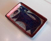 Marianne Starck tray with a kitty designed for Michael Andersen... Danish modern pottery