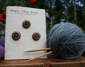 3 Wood Tree Buttons- Oregon Myrtlewood- Wooden Buttons- Eco Craft Supplies, Eco Knitting Supplies, Eco Sewing Supplies