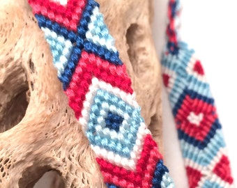 Friendship bracelet - diamond pattern - red - blue - handmade - macrame - embroidery floss - string - thread - woven - knotted