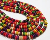 "BIRTHDAY SALE 8"" STRAND - Howlite Beads - 3x6mm Discs - Multi-Colored (8"" strand - 65 beads) - str299"