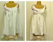 Sweet Shoppe Tunic Size 2X, 3X Hi Low Hem Flared French Seaside Tunic Beach White Lavender Stripe Bow Hand Dyed Lace
