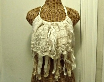 Burning Man Halter Boho Top, Radical Ritual Ivory Fringe Vintage Lace Ready to Wear One Size Tattered Rag Strips Grunge Womens