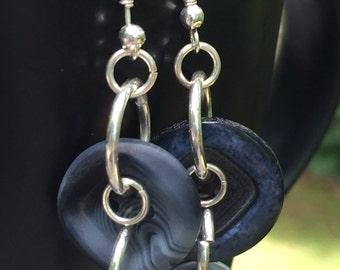 Button dangle earrings, hardware earrings, urban earrings, steampunk, edgy earrings, bohemian earrings