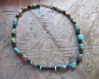 Turquoise Nugget  Choker  Necklace