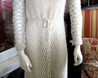 1960s Vintage Caterpillar Open Knit Ecru Long Sleeve Dress Drawstring Waist 34-38 Bust