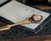 Neo Victorian Cameo Letter Opener in Antiqued Brass with Rose Gold Portrait Cameo - Great Office Gift - By Ghostlove