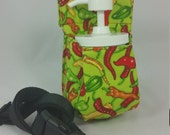 Massage Therapy 8oz cream jar couch hip holster, hot chili pepper on lime green, black belt