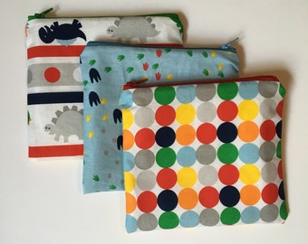 Dots and dinos set for boys Set of 3 Wet bag/Snack bags with waterproof lining
