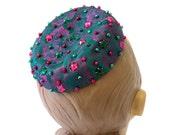 Vintage 1960s Pillbox Hat / Jewel Tone Fucshia Teal Green Brocade, Colored Beads and Rhinestone Accents