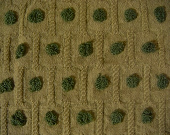 Avocado Green Pops Vintage Cotton Chenille Bedspread Fabric 19 x 20 Inches