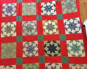 Vintage quilt top red blue and white hand sewn machine sewn farmhouse Decor wall hanging at a vintage revolution