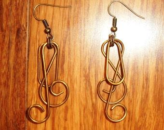 Steampunk/Victorian/Renfair musical note bronze colored earrings