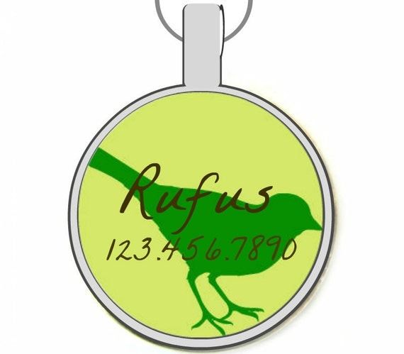 Green Bird Custom Personalized Dog ID Pet Tag Custom Pet Tag You Choose Tag Size & Colors