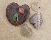 Love hearts -  handmade natural hearts in wood & stone from Australia - prehnite, River stone, carnelian, quartz love hearts