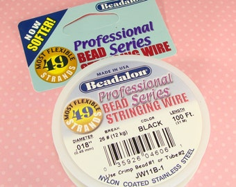 """BLACK Beadalon Bead Stringing Wire Spool .018"""" 100 ft 49 Strand Jewelry Supplies 7x7 Nylon Coated Stainless Steel for Necklaces & Bracelets"""