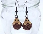 Hedgehog Dangle Earrings, Polymer Clay Woodland Animal Jewelry
