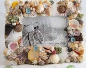 Seashell Picture Frame, Beach Decor Shell Frame, Nautical Decor Shell Picture Frame, Coastal Decor Shell Photo Frame,  Beach Home Decor 8x10