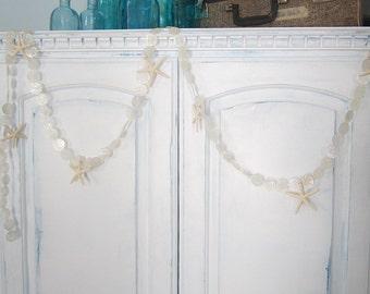 Beach Decor White Capiz Shell Garland w White Starfish - Nautical Starfish Garland w White Capiz Seashells -, 9FT - #CAPSFG1