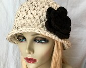 Crochet Cloche Womens Hat, Oatmeal, Thick Chunky Wool Fall Winter Hat, Birthday Gifts, Photo Props, Handmade, JE808CF4
