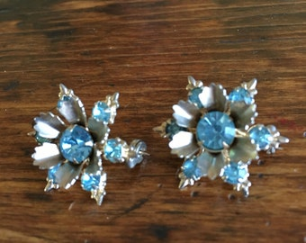 Pair of Vintage Blue Rhinestone Pins