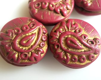 Artisan Paisley Design Beads in Red and Gold- Set of Four