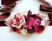 Blush Rose Ruby Orchid Bridal Flower Sash, Pink Burgundy Blush Rustic Vintage Weddings Sash, Pink Maternity Belt, Pink Plum Sash, Photo Prop