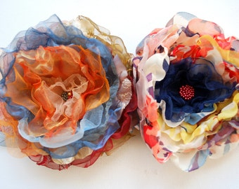 SALE , cij, two orange blue bridal fabric flowers, weddings hair accessories, bridal brooch, bridesmaid, bridal hair flower, autumn fall