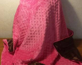 Girls Paris Eiffel Tower Hot Pink Minky Minkee & Brown Satin Baby Blanket 30x37