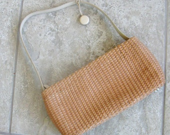 Vintage Purse Handbag Monsac Braided Leather Tan Woven Shoulder Bag