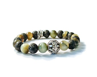 Aromatherapy Essential Oil Stretch Bracelet with Natural Lava Stones and Gemstones
