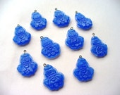 Royal Blue vintage Charms Beads Lotus Blossom Art Deco Ten Supply Destash Beading Supplies