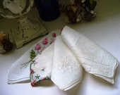 Vintage bridal hankie handkerchief lot Embroidered Rose Linen Wedding Day Something Old