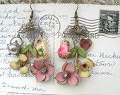 doll earrings shabby chic assemblage flower heart garden