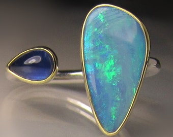 Boulder Opal and Blue Sapphire Ring, 18k Gold and Sterling Silver, Open Stone Cocktail Ring, Double Stone Open Face Ring, size 7.5