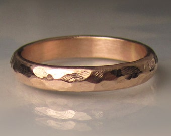 Gold Wedding Band, 3mm recycled 14k Rose Gold Ring, Men's or Ladies' Hammered Wedding Band