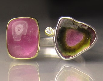Watermelon Tourmaline Ring, Pink Tourmaline Ring, 18k Yellow Gold and Sterling Silver, Open Stone Cocktail Ring - size 7.5 - 7.75