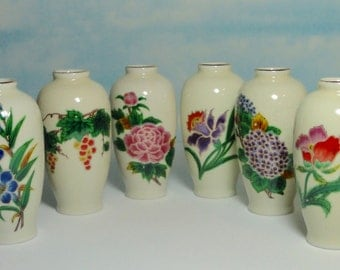 Vintage Set of 6 Gorgeous Ceramic Vases with Different Flower /Fruit on Each. Homco. Japan.