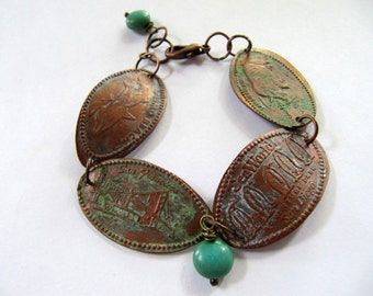Pressed Copper Penny Charm Bracelet with Aged Patina and Repurposed Souvenir Vacation Charms a Vintage Coin Bracelet with Smashed Pennies