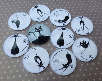 free UK postage 18mm Cabochon with Cat Mix Pack of 15
