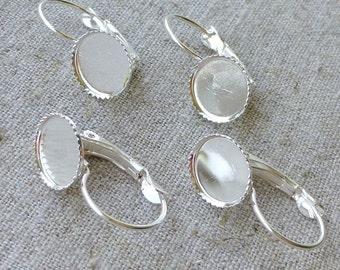 10pcs Silver tone Brass Leverback Earrings Cabochon Resin 10mm base setting