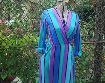 CLEARANCE Vintage 1970s Blue Jewel Tone Striped Secretary Dress Long Sleeve Day Dress Bold Colorful Dress by Charles Alan L