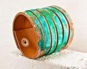 Sea Foam Green Bracelet - Leather Jewelry Unique Accessories - Women's Medium - Gift Ideas