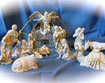 Vintage Franklin Mint 13 Pc Benvenuti Nativity Set With Original Packaging and COA