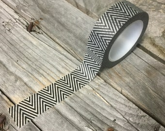 Washi Tape - 15mm - Black and White Chevron - Deco Paper Tape No. 833