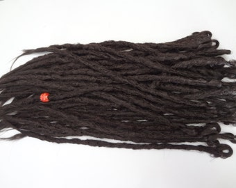 34 Medium Brown synthetic dreads. Synthetic dreads, dreadlocks, dreads, synthetic dreadlocks, dreadlock extensions, long thin single ended