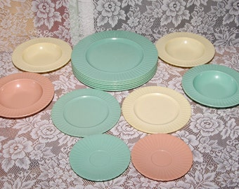Classic Melanine Plates, Bowls, Multi Colored Mid Century