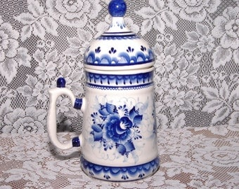 Lidded Russian? Stein Pabata Huk And Blue & White